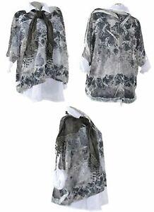 3Tlg Tunika Lagenlook Kleid Netz Schal Twinset Hängerhen Spitze Shirt Schwarz