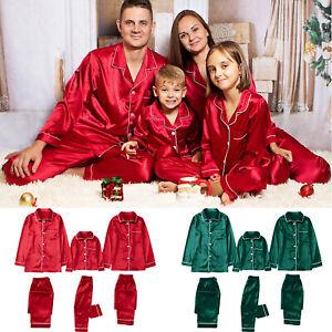 Kid Adult Christmas Pajamas Satin Pure Color Family Matching Sleepwear Pants Set