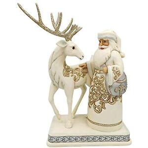 Enesco Jim Shore Heartwood Creek Holiday Gold Lustre Santa & Reindeer Figurine