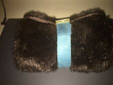 new Stephanie Johnson cosmetic bag/roll faux brown mink fur turquoise suede trim