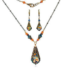 Vintage Neo Victorian Baroque Peacock Crystal by Swarovski Necklace Earring Set