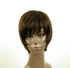 Perruque afro femme 100% cheveux naturel châtain ref LAET 02/6