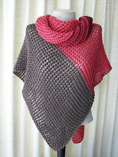 Hand knit Asymmetrical Shawl Triangle Scarf Wrap in Wine Taupe Red