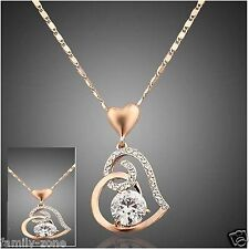 18K Rose Gold Plated love Crystals Heart Pendant Necklace jewellery set chain