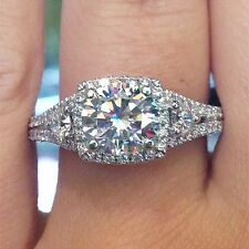 1.69 Ct. Natural Round Brilliant Cut Diamond Halo Engagement Three Stone Ring