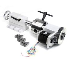 4th Axis CNC Engraving Machine Router Rotational  100mm 3-Jaw Chuck +Tailstock