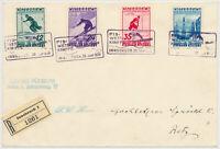 ÖSTERREICH 1936 623-626 FIS II. Satz-REKO-BRIEF, ERSTTAG! INNSBRUCK nach RETZ.