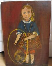 ANTIQUE FOLK ART PRIMITIVE OIL PAINTING OF A GIRL WITH A DOG ON WOOD PANEL