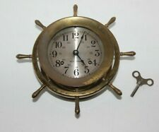 "Vtg Seth Thomas ""Helmsman E537-001"" Nautical Ship Wheel Clock, Working, W/Key"