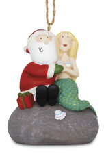Santa & Mermaid on a Rock Ornament - Popular Christmas Decor- Beachy X-mas.