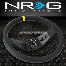 "NRG 350MM 3"" DEEP DISH 6-BOLT YELLLOW LEATHER ALUMINUM RACING STEERING WHEEL"