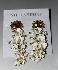 Stella & Ruby Gold Tone crystal & white beaded flower drop earrings