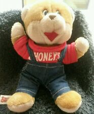 "1986 Shoney's Bear Plush Red T-Shirt Jeans overalls  11"" Vintage Restaurant  3+"