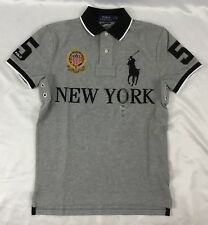 Ralph Lauren Men Custom Slim Fit Polo Shirt New York Number 5 Gray Size XL
