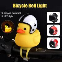 Small Yellow Duck Bicycle Bells Handlebar Head Light + Broken Wind Duck Helmet