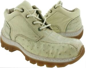 Mens Off White Genuine Crocodile Exotic Ostrich Skin Western Cowboy Style Shoes