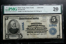 New York, New York  $5 National Bank Note, 1902 PMG 20 VERY FINE SEVENTH NB