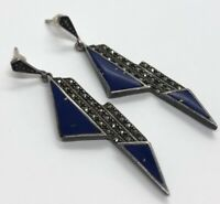 Vintage Sterling Silver Earrings 925 Deco Lapis Dangle Marcasite