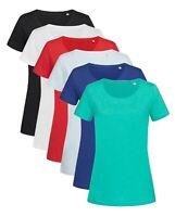 Ladies Womans Womens Plain Slub Cotton Short Sleeve Crew Neck Tee T-Shirt Tshirt