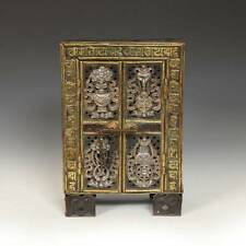 PORTABLE SHRINE GILDED COPPER SILVER WOOD KALACHAKRA TIBET BUDDHISM MID-20TH C.
