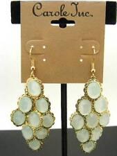 $12 Carole PALE GREEN Chandelier Faceted Beads Drop Dangle Goldtone Earrings