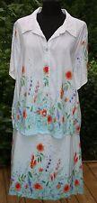 Womens Mirror Image 2 Pc Skirt Suit Sz 2X Linen Blend Top Ombre Floral Plus