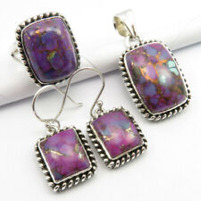 925 Sterling Silver Authentic MOHAVE TURQUOISE Pendant Earrings Ring #8.75 SET