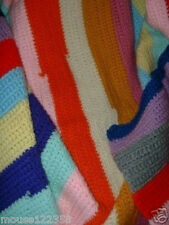 Vintage Afghan   Throw Hand crafted Crochet   Colorful