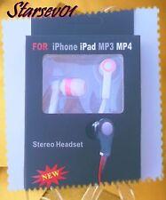 CASQUE ECOUTEUR STEREO 3.5mm BLANC ET ROSE POUR IPHONE / IPAD / MP3 / MP4