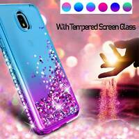 For Samsung Galaxy J7 Crown/Star/2018 Case Quicksand Glitter+Tempered Glass