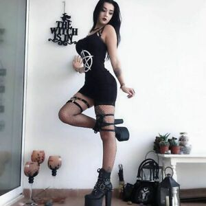 Gothic Dress with Pentagram print, Clubwear, Punk, Occult, UK Seller, BNWT