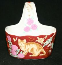 Mini Vintage Ceramic Cat Butterfly Floral Basket Trinket Japan Euc