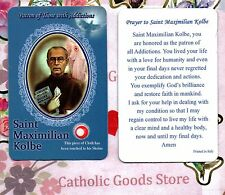 St. Saint Maximilian Kolbe with Prayer - Relic Paperstock Holy Card