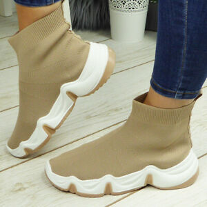 Ladies Chunky Sock Trainers Sneakers Ankle Comfy Womens Pump Pull On Shoes Boots