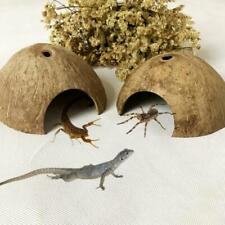 New listing Reptile Hide Habitat Natural Coconut Shell Lizard Spider Small Animal Cave House 00004000
