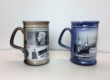 Two Vintage German Stein Mugs Cups Coffee Beer