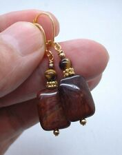 Smooth Red Tiger Eye W. Black Hematite Gold Earrings A0519