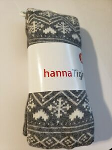 Hanna Andersson girl 90 - 100  Gray Footed Tights Snowflake heart ornament 3  4