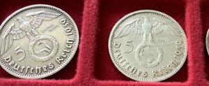 """DR 5 RM 1939   gut erhalten 2 x 900-er AG,   Prägung """"A und D"""""""