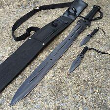 """3PC COMBO 27"""" Full Tang Ninja Sword DEAD WALKER Machete Throwing Knife 926880-BK"""
