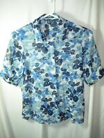 WOMENS NAVY BLUE WHITE SHEER CHAPS POLY SHORT SLEEVE SHIRT BLOUSE TOP SIZE S 36