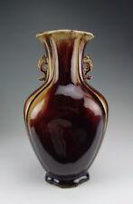 Amazing China Antique Flambe Glaze Porcelain Vase Dragon Handle
