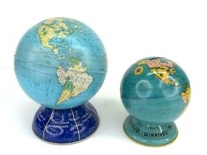 2 Vtg Tin Litho Globe World Coin Banks Ohio Art Universal Life Co. Winnipeg MB