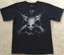 Mens Black Microsoft X Box 360 Halo Skull Gaming T Shirt  S