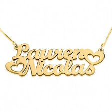 Love Couple Two Name Necklace - Gold Plated Personalized Nameplate - oNecklace ®