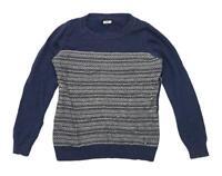 Next Womens Size 12 Textured Cotton Blend Blue Jumper (Regular)