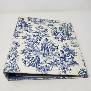 Vintage Target Blue Country French Toile Print Fabric Photo Album 3 Ring Binder