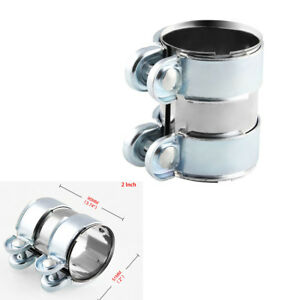 2 Inch Motorcycle Car Clamps/Band/Flanges+Screws Durable Stainless Steel Silver