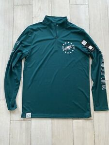 NFL Team Apparel Philadelphia Eagles 1/4 Zip Mock Shirt Men's Medium M Green