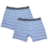 Kenneth Cole Men's 2 Pack Striped Aqua Blue Pink White Boxer Briefs (S03)